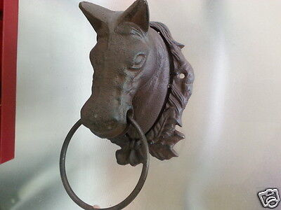 Cast Iron Antique Style Horse Head Door Knocker / Cottage Towel Ring Rustic