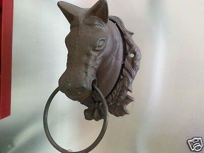 Cast Iron Antique Style Horse Head Door Wall Decor / Cottage Towel Ring Rustic