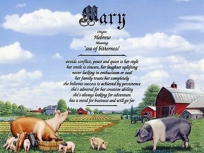 """Pigs"" Name Meaning Print Personalized (Animals, Nature, Farm)"