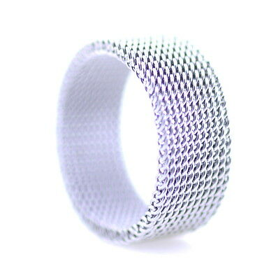 Silver coloured alloy mesh band ring multiple sizes