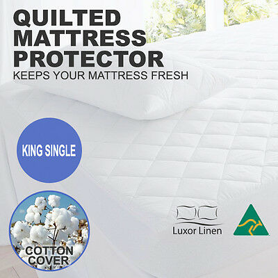 Aus Made Cotton Cover Quilted Mattress Protector Topper Underlay-King Single