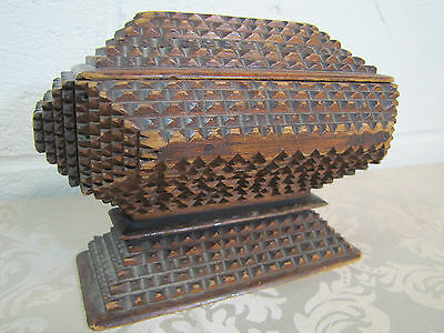 Antique 19c TRAMP ART Wooden Box - ornate angled design base lid Folk Art