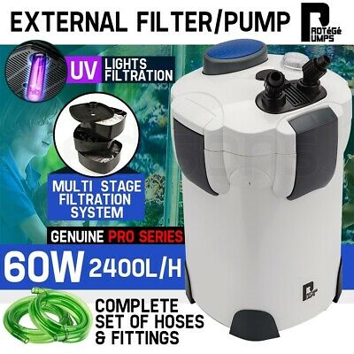 Aquarium External Canister Filter Aqua Fish Tank Multi Stage Pond Pump UV Light