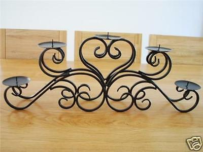 Quality Hand Iron Table Candle Holder Centrepiece 5 Plates 003BLK Wedding