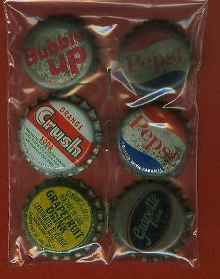 6 Vintage Cork Back Soda Bottle Caps- Pepsi Grapette Orange Crush Bubble Up ++
