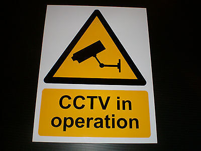 CCTV IN OPERATION sign Plastic , Sticker & Holed . A6 A5 A4 & A3  F POST camera