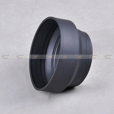 New 52mm 52 Rubber 3in1 Collapsible Lens Hood for Canon Nikon