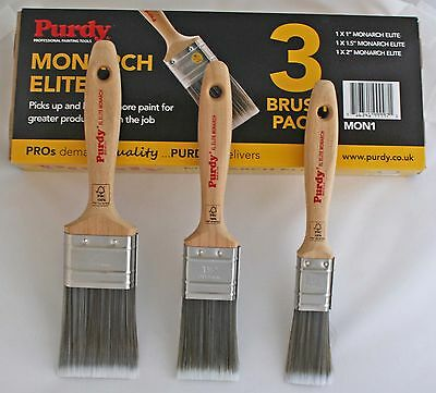 "Purdy Monarch Elite Synthetic Paint Brush Set 1X1"", 1.5"", 2"" Mon1 - Tracked Del"