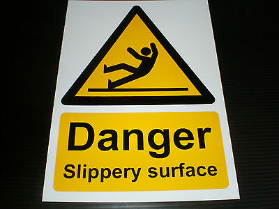 Danger Slippery Surface Plastic Sign Or Sticker Choice Of Sizes Screen Printed