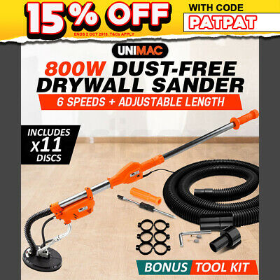 NEW UNIMAC Drywall Sander Plaster Wall Board Dust Free Drywall Disc Gyprock 800W