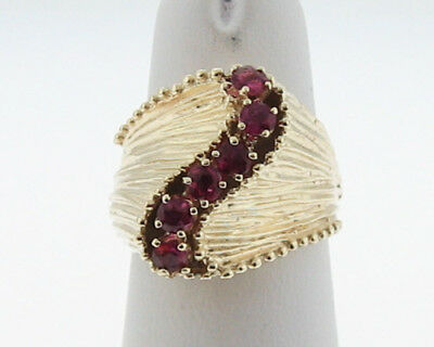 Estate Natural Ruby Solid 14k Yellow Gold Cocktail Ring