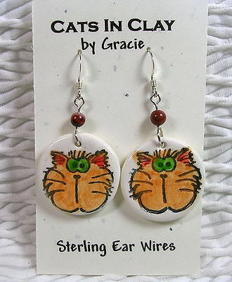 Ginger Goofy Cat Face Round Clay French Wire Earrings Sterling Earwires  by GMS