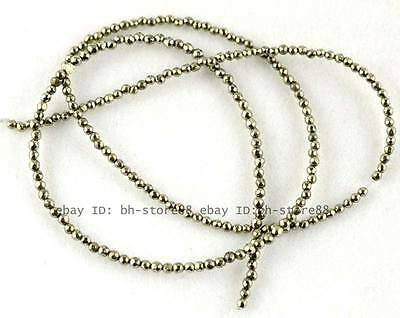 2mm Beautiful Pyrite round faceted loose Beads 15''