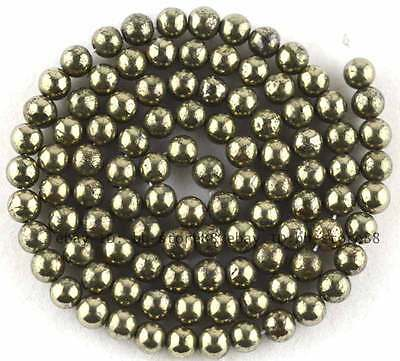 4mm Beautiful Natural Pyrite round loose Beads 15''