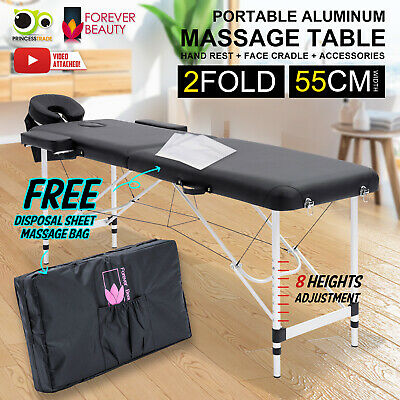 Aluminium Portable Massage Table 2 Fold Beauty Therapy Bed Waxing 55cm BLACK