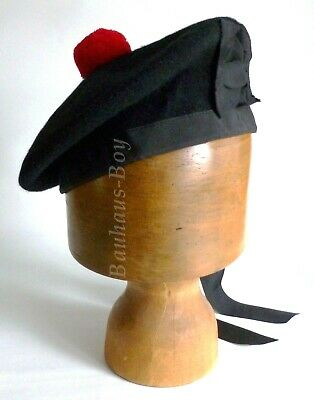 Kilt Balmoral Hat Black Pure Wool All Sizes Ribbon Trim Red Toorie Pom-Pom Kilts