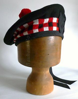 Kilt Balmoral Hat Black Wool & Diced Trim & Pom-Pom All Sizes For Scottish Kilts