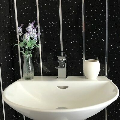 12 Black Sparkle Chrome 8mm Bathroom Cladding Panels PVC Ceiling Shower Wet Wall