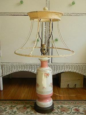 So Romantic~Shabby Vintage CHIC Chintz Roses Table Lamp~1 of 2