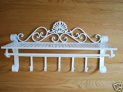 Wrought Iron French Provincial Shelf Rod Hooks Rack Strong Heavy 001