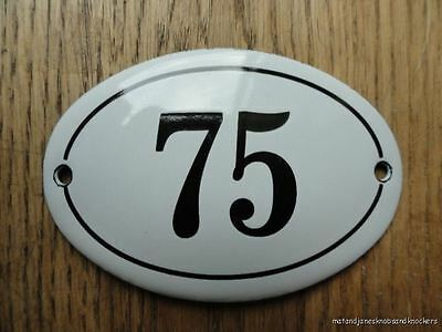 Small Antique Style Enamel Door Number 75 Sign Plaque House Number Furnituresign