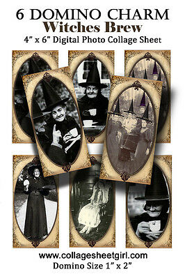Domino Collage Sheet Vintage Halloween Witches Photograph Grungy Prim Antique
