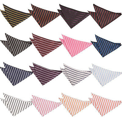 DQT Woven Single Stripe Formal Casual Mens Handkerchief Hanky Pocket Square