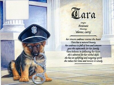 """Police Puppy"" Name Meaning Prints Personalized (Dog, Law Enforcement)"