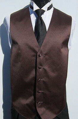New Mens Chocolate Brown Satin Fullback Vest & Tie Wedding Prom Discount 2XL