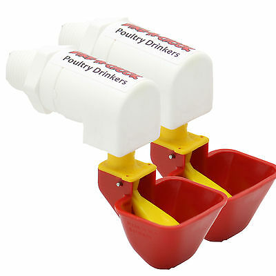 DINE A CHOOK LUBING Cup Chicken Drinker / Waterer for Poultry / Feeder - 2 Pack