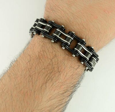 "8.5"" Custom Black Silver Stainless Steel Gents Chain Link Bracelet Drag Moose"