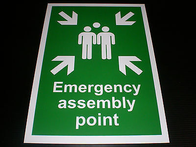 Emergency Assembly Point A4 Plastic Sign Or Sticker Fire Evacuation Danger