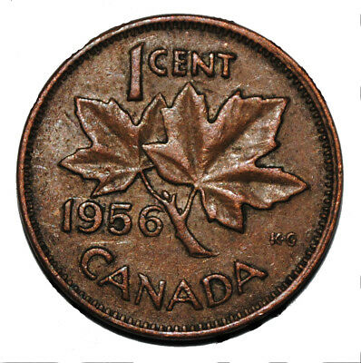Canada 1956 1 Cent Copper One Canadian Penny Coin