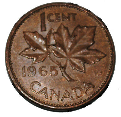 Canada 1965 lbb5 1 Cent Copper One Canadian Penny Coin
