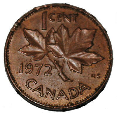 Canada 1972 1 Cent Copper One Canadian Penny Coin