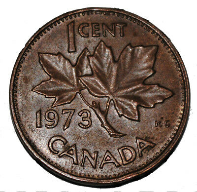 Canada 1973 1 Cent Copper One Canadian Penny Coin