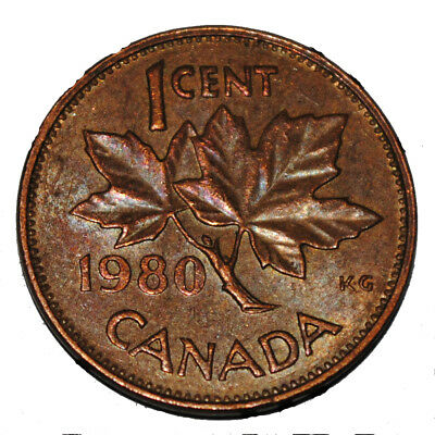 Canada 1980 1 Cent Copper One Canadian Penny Coin