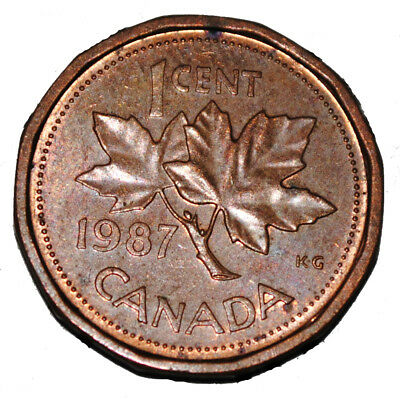 Canada 1987 1 Cent Copper One Canadian Penny Coin