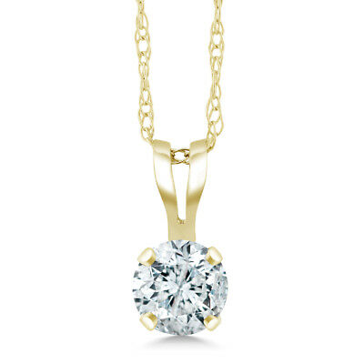 "0.20 Ct Round Cut 14K Yellow Gold Diamond Pendant with 18"" 14K Yellow Gold Chain"
