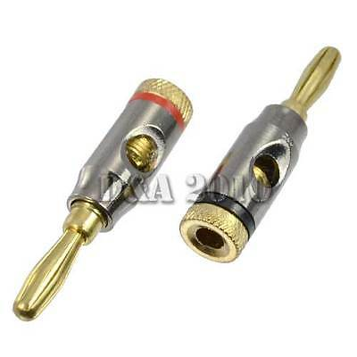1 Pair 2 Pcs 4mm Banana Plug Gold Plated Binding Post Red Black Ringed Connector