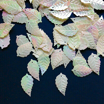 100 x 24mm Large Sequin Leaves in  White Iridescent + Cerise Pink.