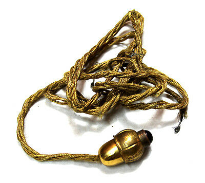 Nice funny bronze ormolu old small push bell call ringer acorn shape cloth cable