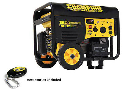 New Champion 4000 watt Gas Portable Gasoline Generator remote start wheel kit