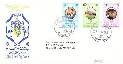 1981 Turks & Caicos Royal Wedding First Day Cover Special Postmark G365