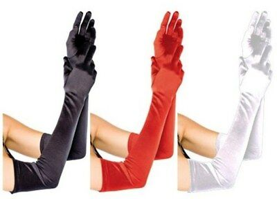 Long Gloves 53cm for Formal, Costume, Opera in Black White or Red Aussie Seller