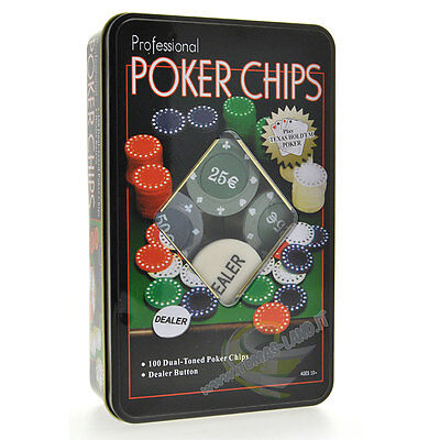 Set Poker Fiches Chip Gettoni Chips 100 Pezzi 5 Colori + Dealer Texas Hold'em