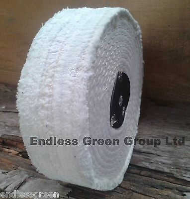 150mm x 40mm - Stitched White Cotton Buffing Wheel - Firm Polishing Mop C150/3