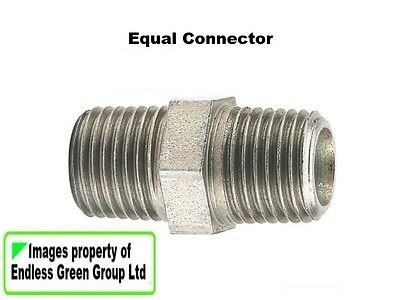 PCL Air Compressor / tool fitting:  1/4 BSP Equal Connector - double male   356