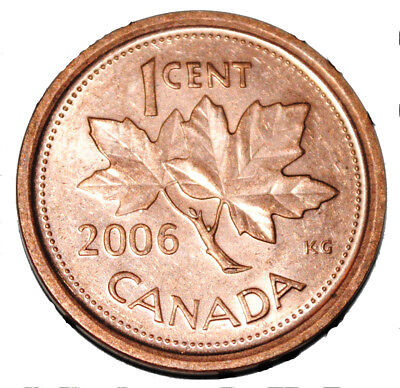 Canada 2006 L 1 Cent Zinc One Canadian Penny Coin Logo M  Non Magnetic