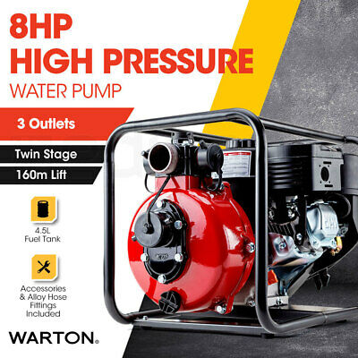 "NEW WARTON 8HP 2"" Petrol High Pressure Water Transfer Pump - Fire Fighting"